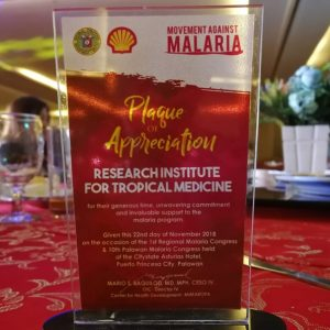 DOH-MIMAROPA awards RITM for contribution in fight against Malaria
